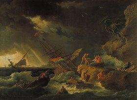 Claude Joseph Vernet: Stürmische See mit gescheitertem Segelschiff. 1740-er Jahre