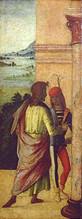 Lorenzo Costa: Zwei Männer, an einer Säule stehend