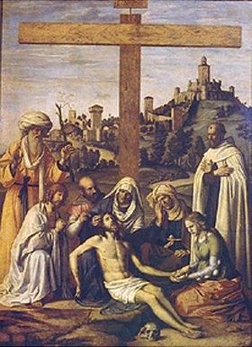 Cima da Conegliano: Die Beweinung Christi (mit einem Karmeliter-Mönch)