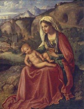 Giorgione (G.da Castelfranco): Maria mit dem Kind in einer Landschaft sitzend