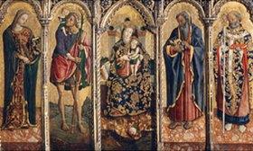 Vittore Crivelli: Madonna mit dem Kind und vier Heiligen. Polyptichon