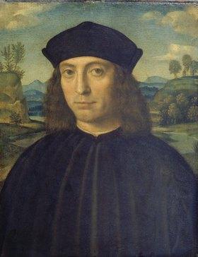 Francesco (Raibolini) Francia: Bildnis eines Mannes vor Landschaft