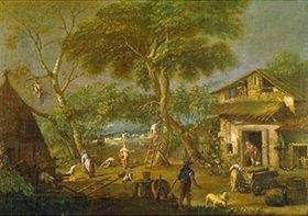 Antonio Dizziani: Italienische Landschaft mit bäuerlichen Szenen