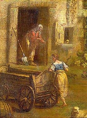 Antonio Dizziani: Junge Magd und alte Bäuerin. Detail aus: Ital. Landschaft mit bäuerlichen Szenen
