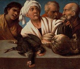 Pietro(della Vecchia) Muttoni: Genre-Szene mit geschlachteten Hähnen
