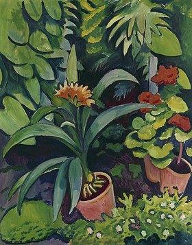 August Macke: Blumen im Garten: Clivia und Pelargonien