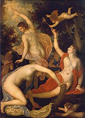 Padovanino (Alessandro Varotari): Cupido und Grazien