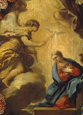 Carlo (Maratta Carlo) Maratti: Verkündigung Mariae (Detail aus Verkündigung Mariae im Blumenkranz, siehe Bildnummer 22724)