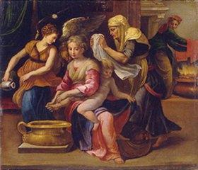 Parmigianino (Francesco Mazzola): Ein Baby wird gebadet
