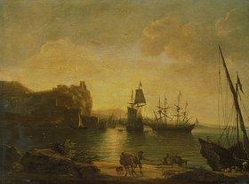 Salvator Rosa: Abendliche Hafenstimmung mit Seglern