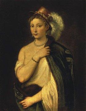 Tizian (Tiziano Vecellio): Bildnis einer jungen Frau mit Federhut