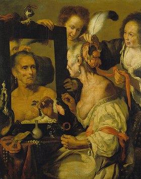 Bernardo (Il Capuccino) Strozzi: Alte Kokotte vor dem Spiegel (Vanitas-Darstellung)