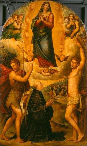 Giacomo Francia: Himmelfahrt Mariae mit Johannes d.T., Hl. Sebastian und Stifter