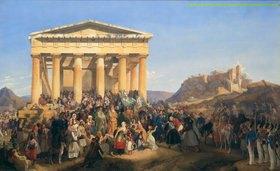 Peter von Hess: Empfang König Ottos von Griechenland in Athen am 12. Jan. 1835. Gemalt