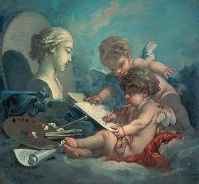 François Boucher: Zwei malende Putten. Allegorie der Malerei