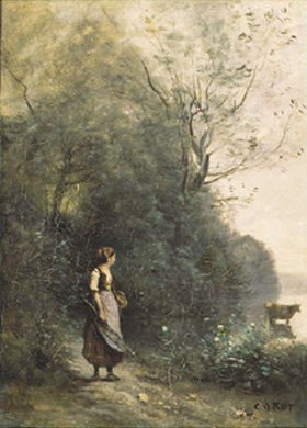 Jean-Baptiste Camille Corot: Hirtin mit Kuh am Waldrand