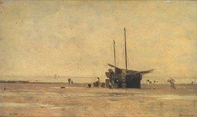 Charles-François Daubigny: Strand mit Segelschiff auf dem Trockenen. 1860-er Jahre