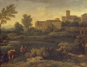 Gaspard Dughet: Eine italienische Stadt in Lazium. 1660-er Jahre