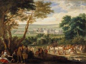 Französisch: Die Ankunft Louis XIV. in Vincennes. (spätes 17. Jahrhundert)