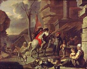 Französisch: Reiter an einer Taverne. (2. Hälfte 17. Jahrhundert)