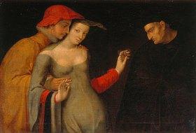 Französisch: Szene aus der Commedia del `Arte (die zwei Lebensalter). (2. Hälfte 16.Jhd)