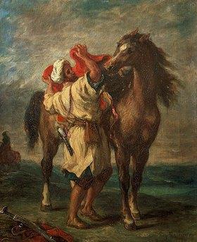 Eugene Delacroix: Marokkaner, sein Pferd sattelnd
