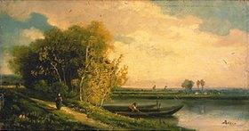 Charles Barthélemy J Durupt: Abend am See-Ufer
