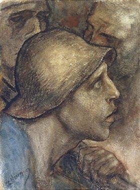Constantin Meunier: Kopf eines Arbeiters mit Schutzhelm