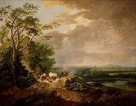 Karl Philip Schallhas: Windige Landschaft mit Viehhirt