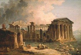 Hubert Robert: Von Wasser umgebener antiker Tempel. 1780-er Jahre