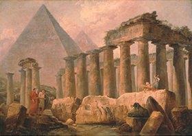 Hubert Robert: Pyramide und antiker Tempel. 1780-er Jahre