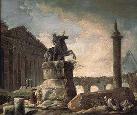 Hubert Robert: Ruinen mit Standbild und Bildsäule