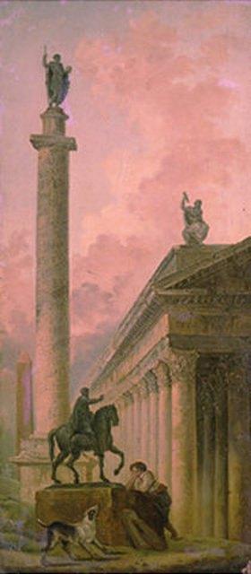 Hubert Robert: Sarkophag mit Reiterstandbild und Bildsäule