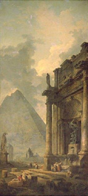 Hubert Robert: Ruinen und Pyramide