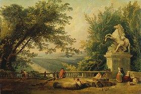 Hubert Robert: Alte Terrasse mit Standbild eines Pferdebändigers