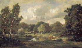 Theodore Rousseau: Rinder an der Tränke. 1850-er Jahre