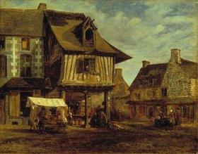Theodore Rousseau: Marktplatz in der Normandie. 1830er Jahre