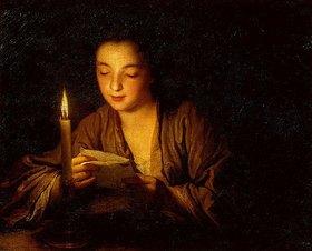 Jean Baptiste Santerre: Mädchen, bei Kerzenlicht einen Brief lesend