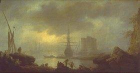 Claude Joseph Vernet: Neblige Stimmung am Hafen mit Netze einholenden Fischern