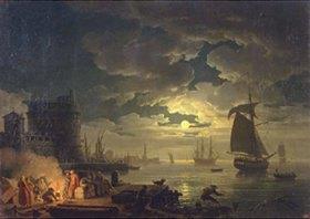 Claude Joseph Vernet: Der Hafen von Palermo bei Mondschein
