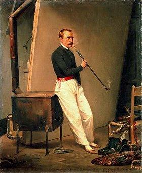 Emile Jean Horace Vernet: Selbstbildnis mit Pfeife
