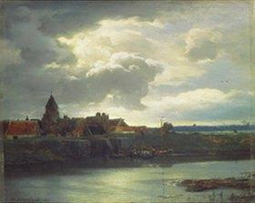 Andreas Achenbach: Kleinstadtlandschaft an einem Fluss