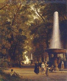Oswald Achenbach: Parklandschaft mit Springbrunnen