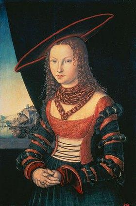 Lucas Cranach d.Ä.: Bildnis einer Frau mit grossem Hut