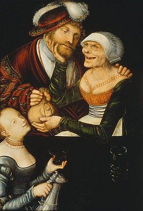 Lucas Cranach d.Ä.: Eine Kupplerin. 1530-er Jahre. (Umkreis Cranach d.Ä.)