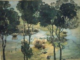 Ludwig Dill: Wasserlandschaft mit Baumspiegelung