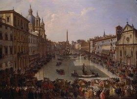 Giovanni Paolo Pannini: Piazza Navona in Rom unter Wasser gesetzt