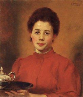 Karl Gussow: Serviererin in rotem Kleid