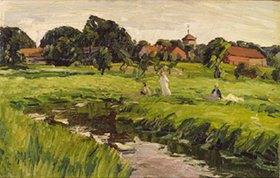 Johannes Hansch: Dorflandschaft mit Kindern an einem Bach
