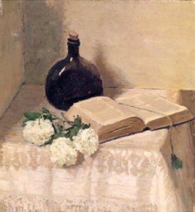 Johannes Hansch: Stillleben mit Buch, Weinflasche und Blumen
